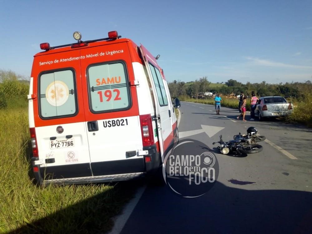 Adolescente fica gravemente ferido após bater moto de frente com carro próximo ao radar na marginal da BR-354
