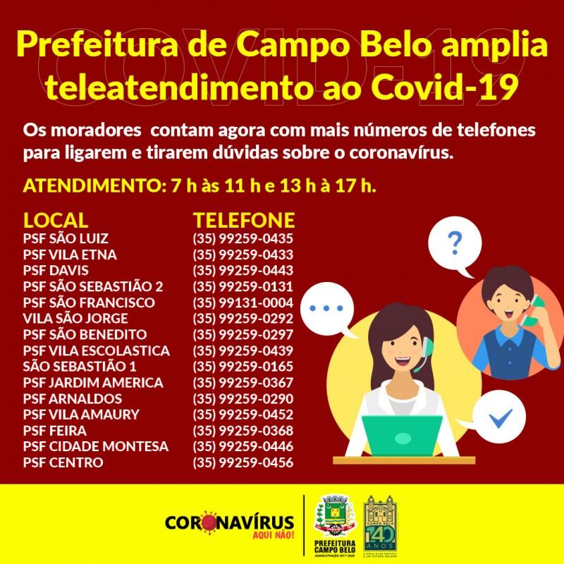 Campo Belo - Prefeitura amplia Teleatendimento ao COVID-19, saiba mais!