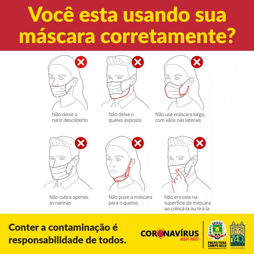 Você sabia que o uso inadequado da máscara pode aumentar risco de infecção? Veja a maneira correta de usá-la!